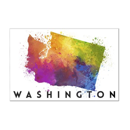 Washington State Acrylic (Washington - State Abstract Watercolor - Lantern Press Artwork (12x8 Acrylic Wall Art Gallery Quality) )