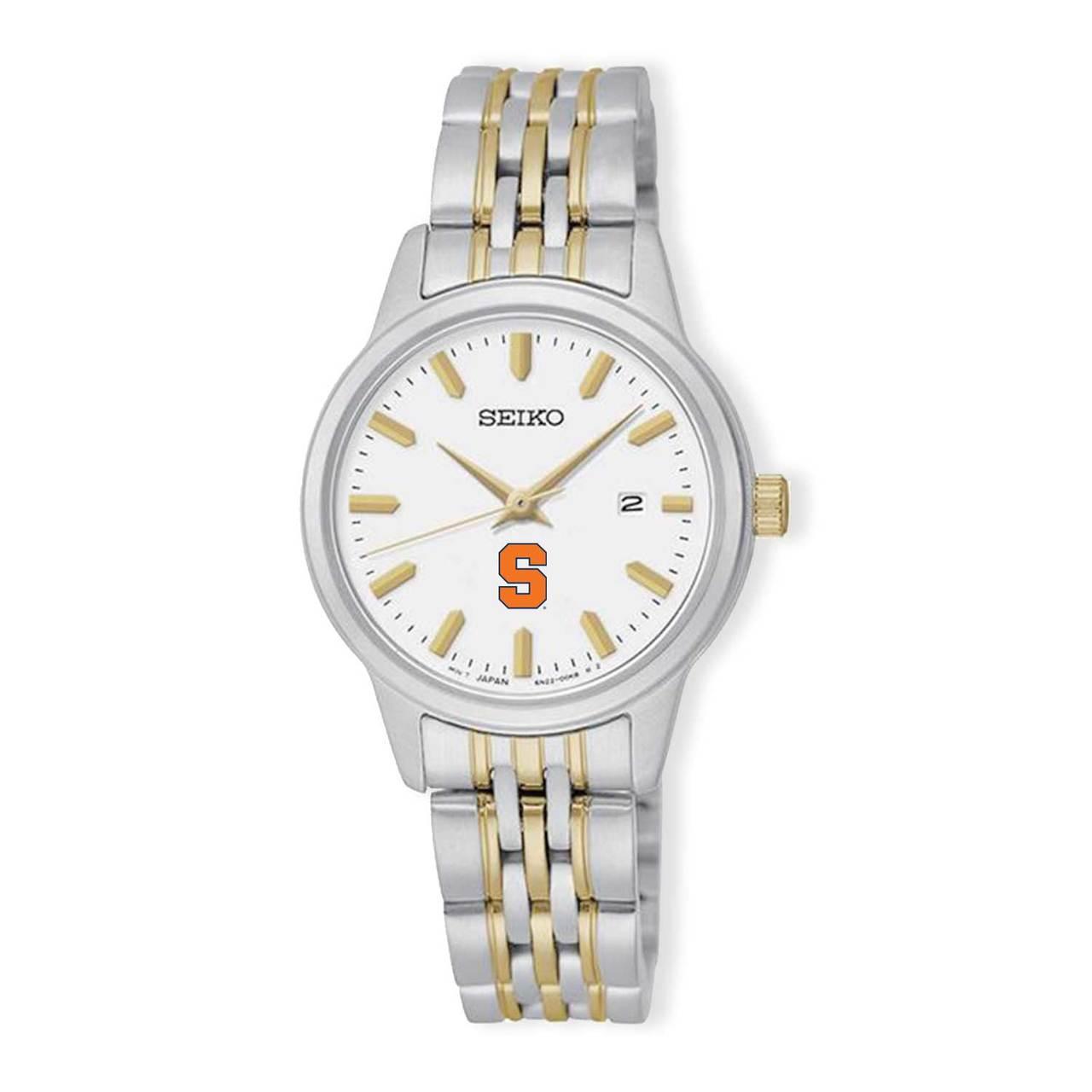Syracuse Orangemen Seiko Women's Prime Analog Quartz Two-Tone Stainless Steel Bracelet Watch