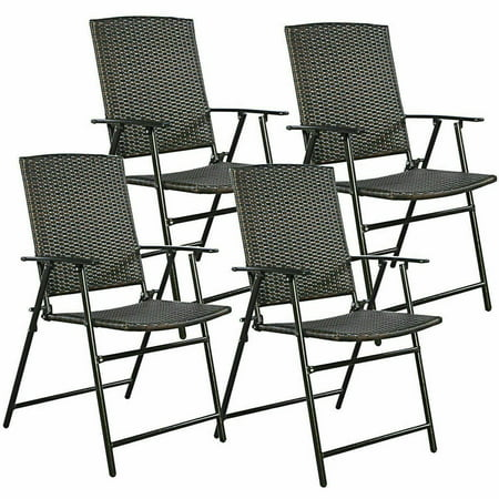 Gymax Folding Rattan Chair Brown 4 PCS Outdoor Indoor Furniture ()