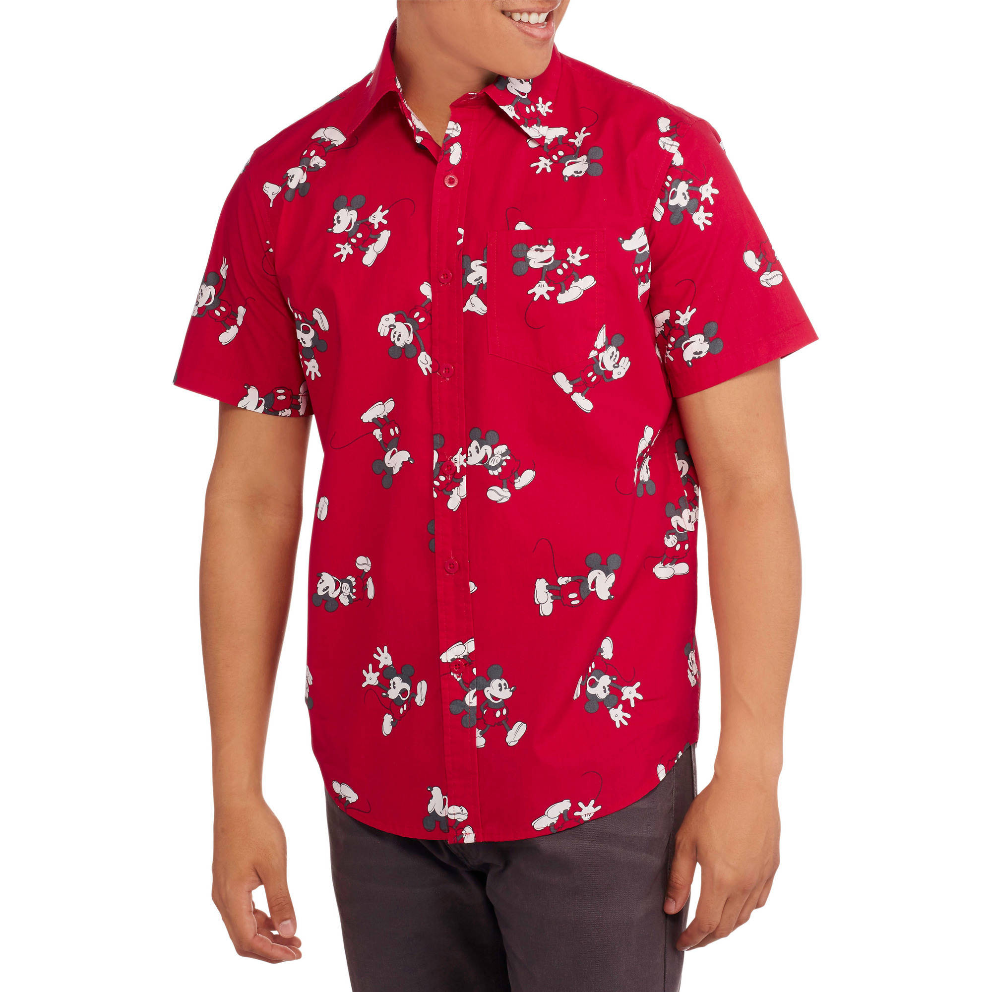 Disney Mickey Mouse Big Men's Short Sleeve Woven Shirt