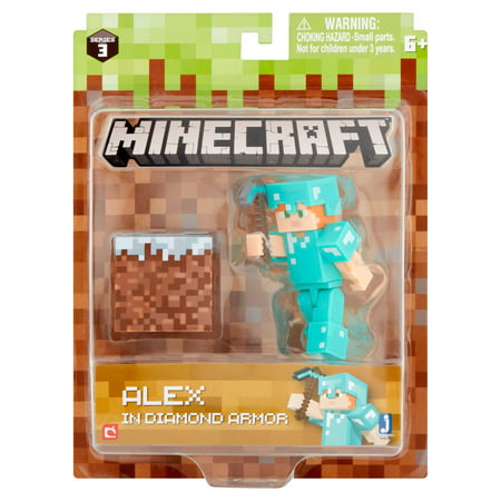 Jazwares Minecraft Series 3 Alex in Diamond Armor Figure
