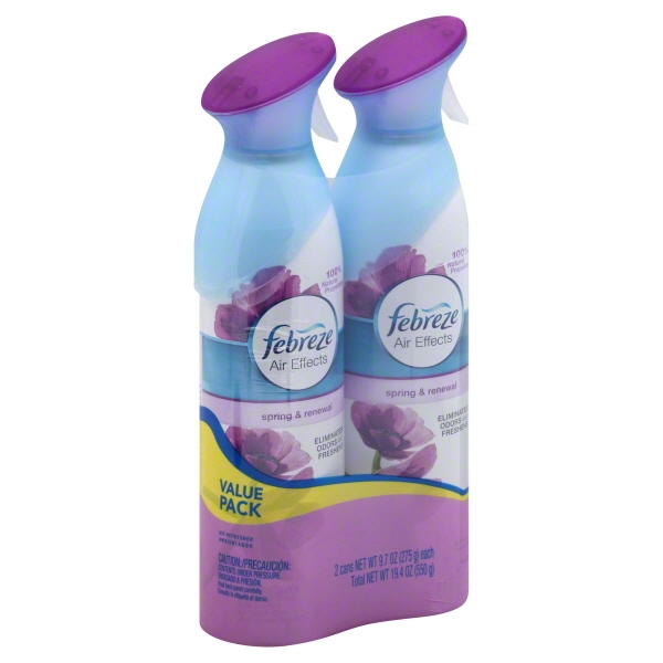 Febreze Air Effects Air Refresher, Spring & Renewal, 9.7 Oz, 2 Ct