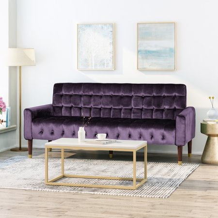 Noble House Gracelynn Tufted Velvet Sofa with Gold Tipped Tapered Legs, Blackberry and Gold Finish