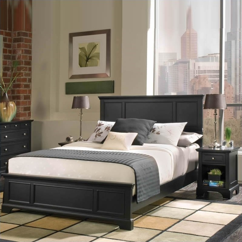 Bedford 2 Piece Bedroom Set   Complete Queen Bed And Night Stand, Ebony