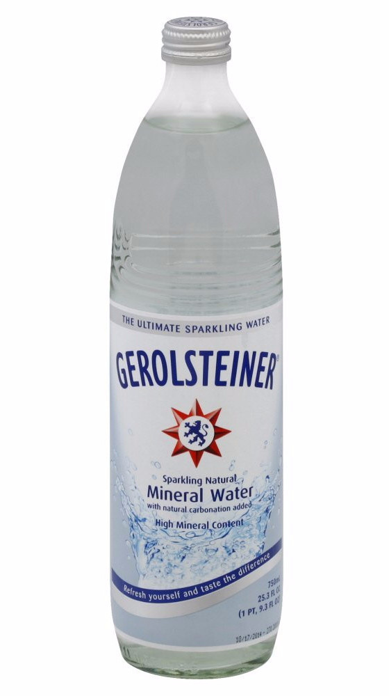 Gerolsteiner Naturally Sparkling Mineral Water, 0.75L-GLASS 25.3 oz by