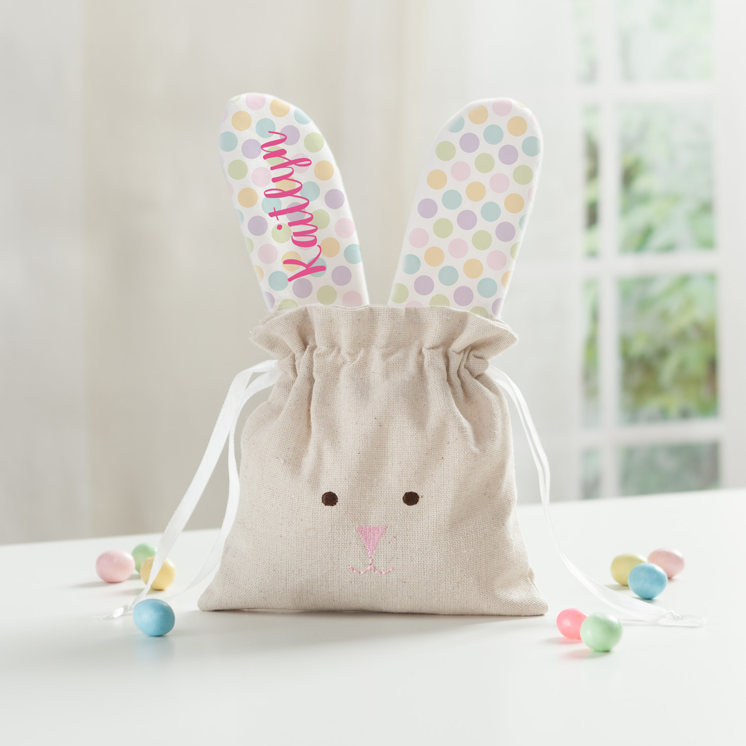 Personalized Linen Drawstring Bunny Easter Bag