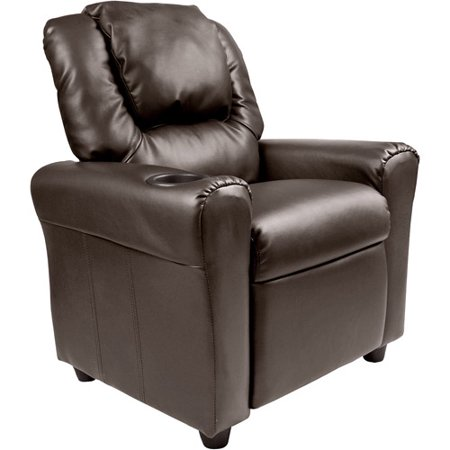 This button opens a dialog that displays additional images for this product  with the option to zoom in or out. - Flash Furniture Kids' Vinyl Recliner With Cupholder And Headrest