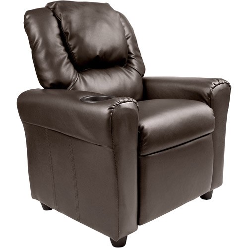 Flash Furniture Kids' Vinyl Recliner with Cupholder and Headrest, Multiple Colors