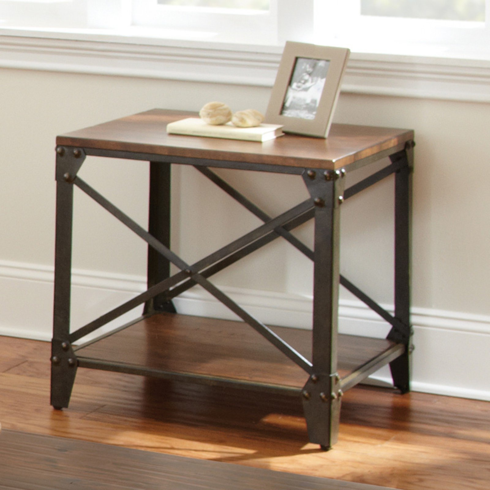 Steve Silver Winston Square Distressed Tobacco Wood and Metal End Table