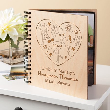 Personalized Wedding Albums (Personalized Honeymoon Memories Wood Photo)