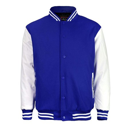 Maximos Mens Varsity Baseball Letterman Vintage Button Down Jacket Royal Blue - Varsity Jacket For Kids