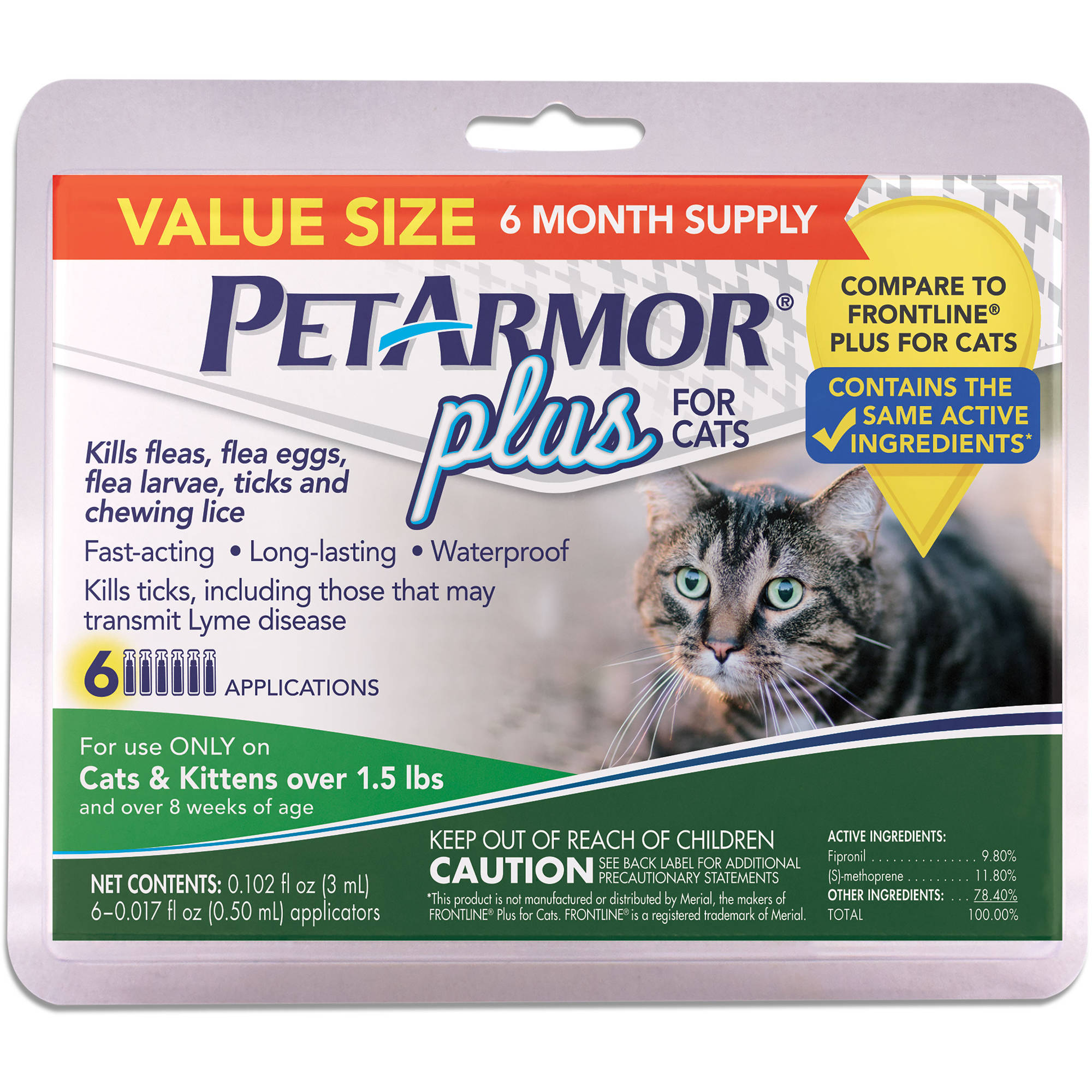PetArmor Plus for Cats, All Sizes, 6-Count