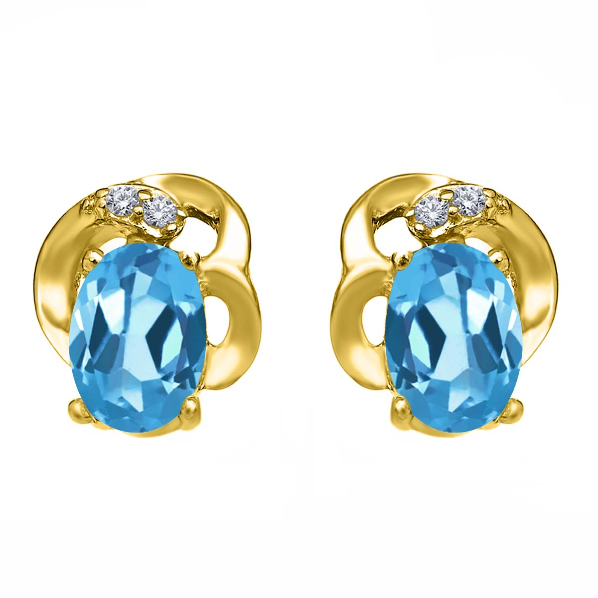 1.15 Ct Oval Swiss Blue Topaz 18K Yellow Gold Plated Silver Earrings