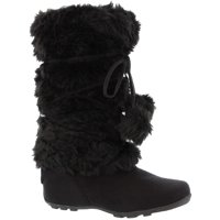 Talia-Hi Women Mukluk Faux Fur Boot Mid Calf Winter Snow White