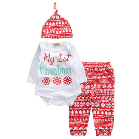 Baby Boy Girl My First Christmas Outfit Letter Romper Elk Pant with Knotted Hat Set