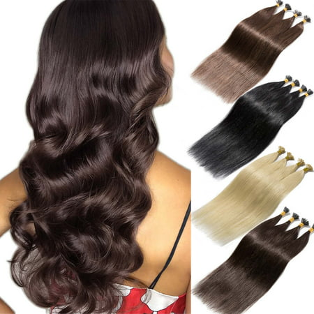 S-noilite I Tip Hair Extensions 100 Strands Pre Bonded Stick Tip Keratin Real Remy Human Hair Extension Straight Ash &