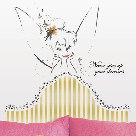 Room Mates Popular Characters Disney Fairies Tinkerbell Headboard Giant Wall Decal