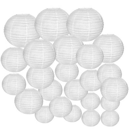 Just Artifacts Decorative Round Chinese Paper Lanterns 24pcs Assorted Sizes (Color: White) - Blue Lantern Ring For Sale