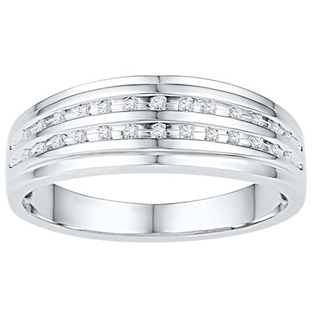 Two Row Channel Set (Size - 10 - Solid 10k White Gold Round White Diamond Men's Channel Set Two Rows Wedding Band OR Fashion Ring (1/10)