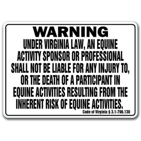 VIRGINIA Equine Sign activity liability warning statute horse farm barn stable ()