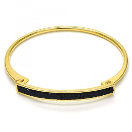 Onyx Cubic Zirconia Stones in Gold Plated Women Latch - Onyx Stone Bangles