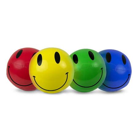 "Beach Balls (Swim Central 4ct Inflatable Smiley Play Beach Balls 16"" -)"
