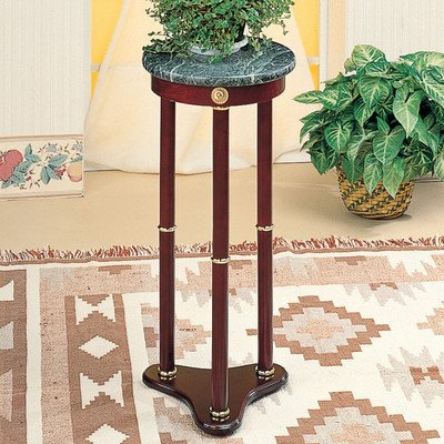 - Pedestal Plant Stand Top Finish: White Marble By World Imports Furnishings