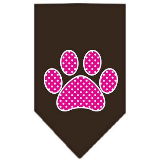 Pink Swiss Dot Paw Screen Print Bandana Cocoa Large