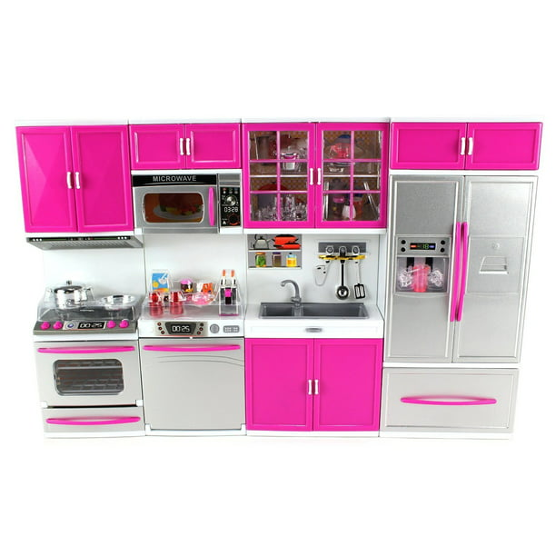 Kitchen Connection My Modern Kitchen Full Deluxe Kit Battery Operated Kitchen Playset Refrigerator Stove Sink Microwave Pink Walmart Com Walmart Com