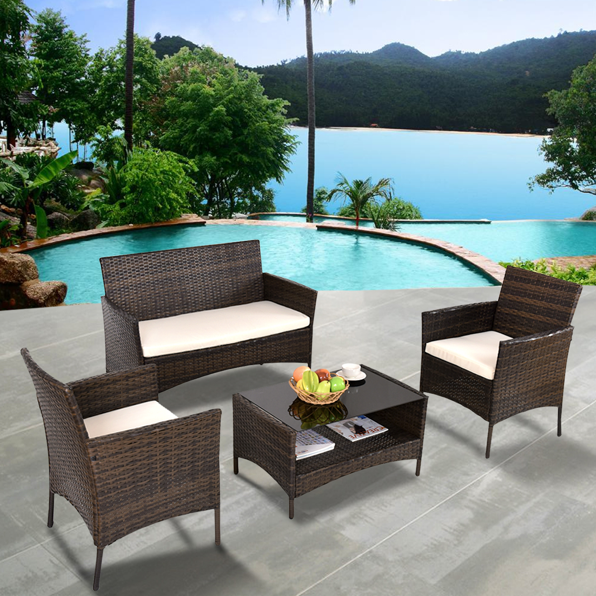 Costway 4 PCS Outdoor Patio Rattan Furniture Set Table Shelf Sofa W  Beige Cushions by Costway