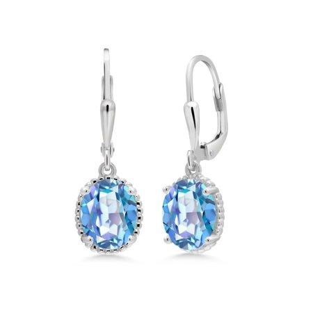 3.60 Ct Oval Millennium Blue Mystic Quartz 925 Sterling Silver Earrings