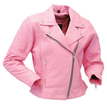 Light Pink Leather Jacket - Road Angel Motorcycle Jacket -