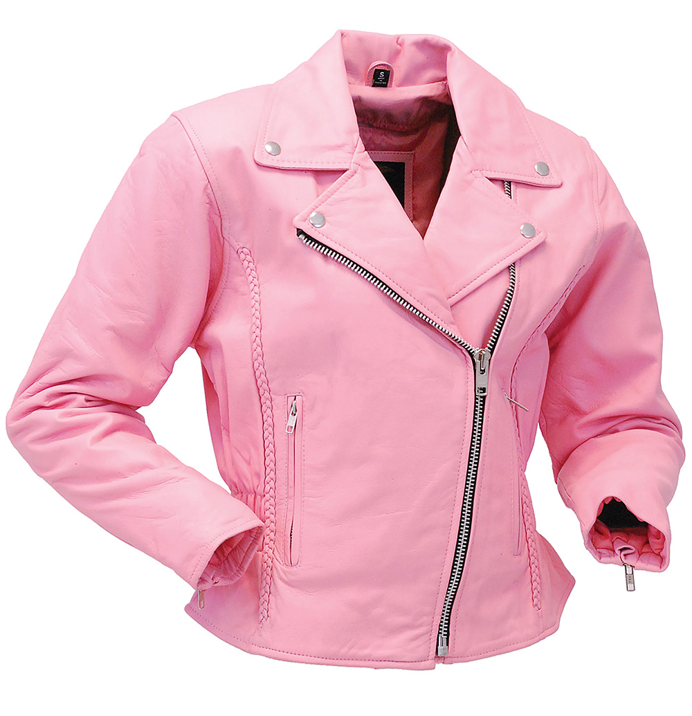 Light Pink Leather Jacket - Road Angel Motorcycle Jacket #L26522ZP