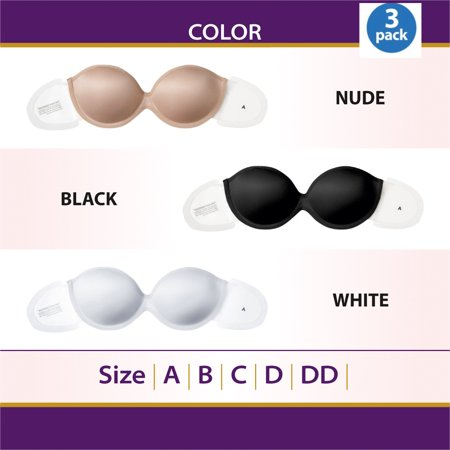 3 Pack Perfect Strapless Self Adhesive Silicone Invisible Push-up
