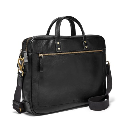 Fossil Haskell Leather Zipper Workbag Laptop Messenger Bag Portfolio Briefcase Black One - Briefcases Nappa Leather