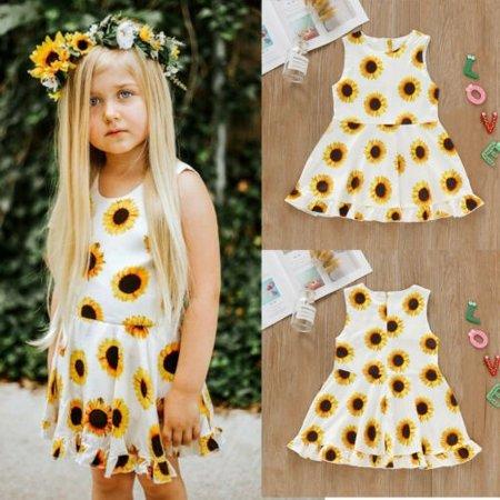 Girls Sunflower (Summer Kids Baby Girl Sleeveless Sunflower Party Dress Sundress Outfits)