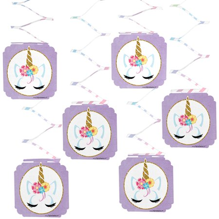 Rainbow Unicorn - Magical Unicorn Baby Shower or Birthday Party Hanging Decorations - 6 Count - Baby Shower Hanging Decorations