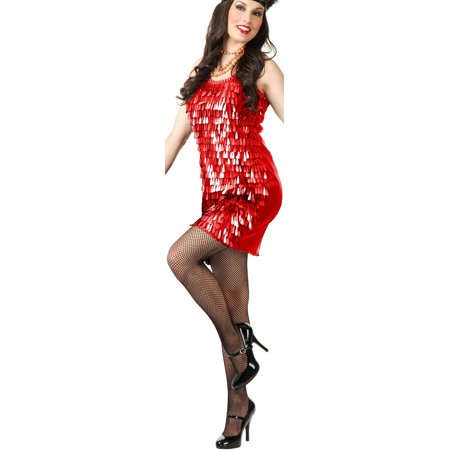 Womens  Red Roaring 20s Tear Drop Sequin Flapper Costume - Roaring 20s