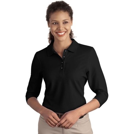 Port Authority Womens Classic Silk Touch 3 4 Sleeve Polo Shirt