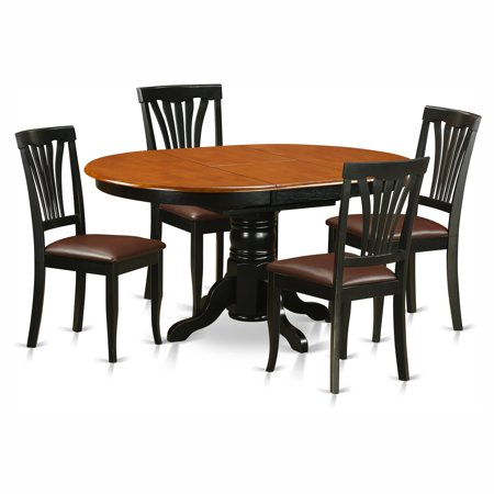 East West Furniture Avon 5 Piece Pedestal Oval Dining Table Set with Faux Leather Seat Chairs