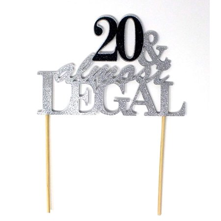 All About Details 20 Almost Legal Cake Topper Silver Black 1 PC 20th Birthday Glitter