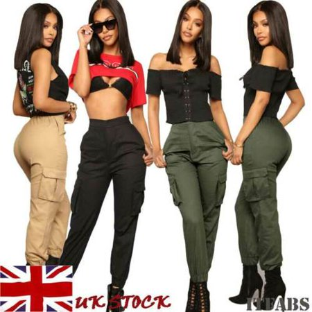 Womens High Waisted Cargo Trousers Cotton Pants Solid Punk Loose Sports ()