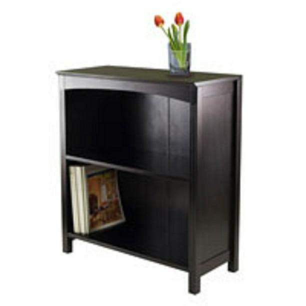 "30"" Espresso Black Storage Shelf or Bookcase with Three Tier Wide"