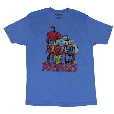 The Avengers (Marvel Comics) Mens T-Shirt - 60s Style Group Over Logo](60s Mens Clothes)