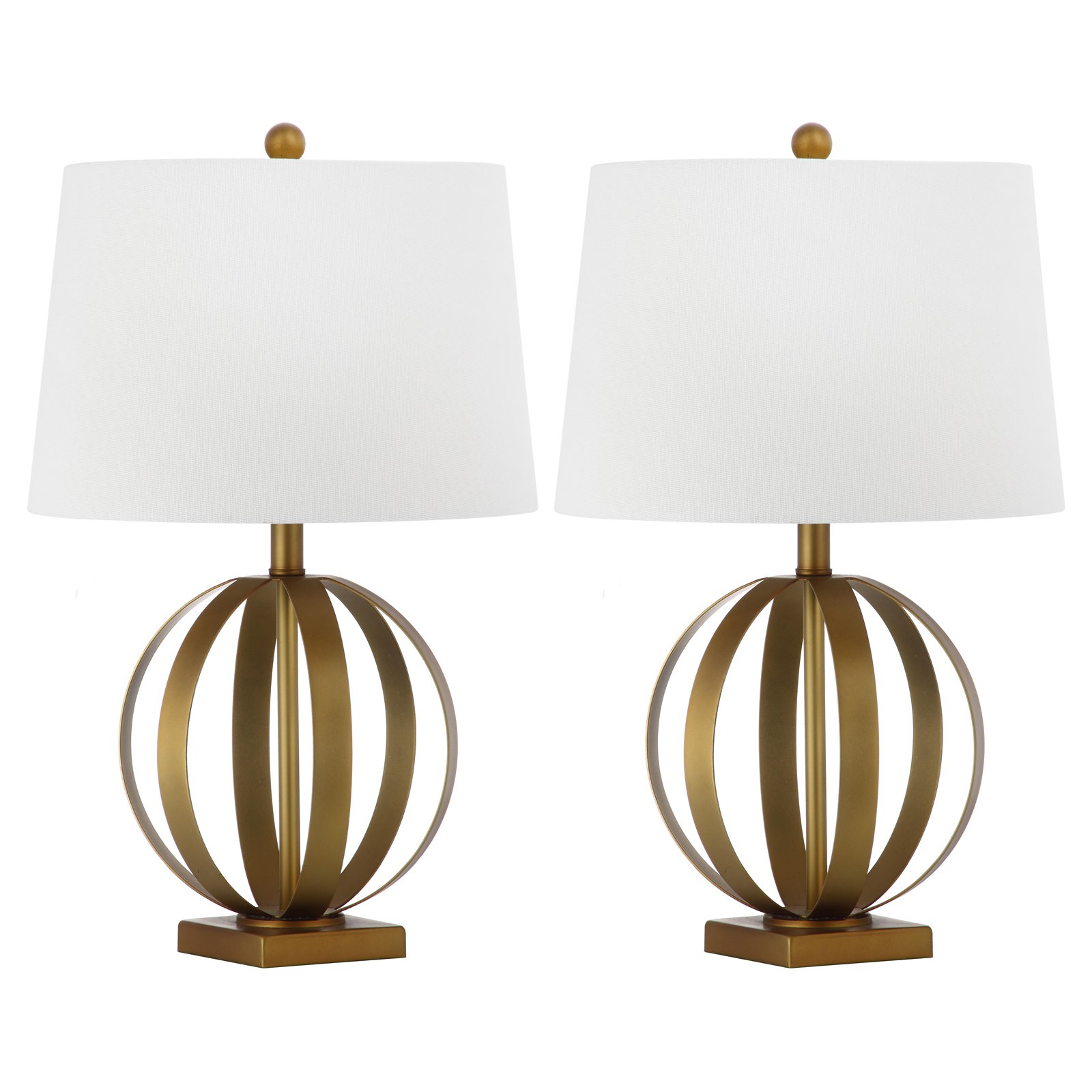 Safavieh Euginia Sphere Table Lamp with CFL Bulb, Gold with Off-White Shade, Set of 2