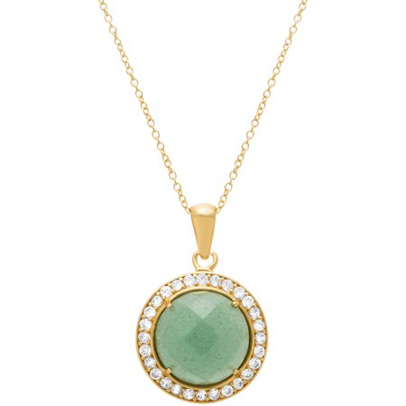 Lesa Michele Cubic Zirconia Sterling Silver Round Faceted Green Aventurine Halo Pendant