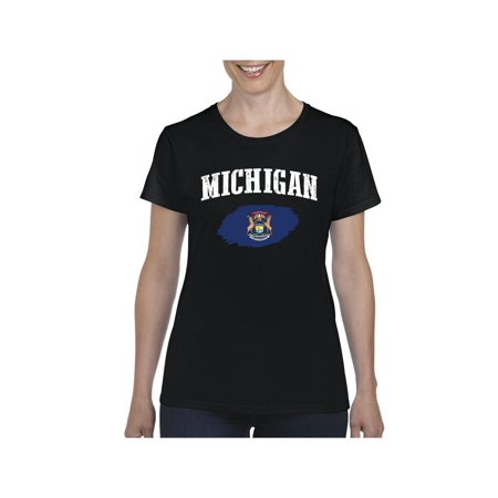 Michigan State Flag Women Shirts T-Shirt Tee