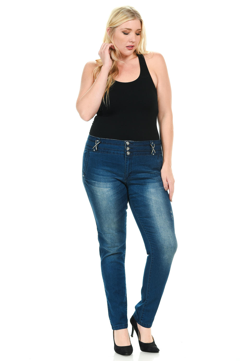 Sweet Look Women's Jeans - Plus Size - High Waist - Push Up - Style 001