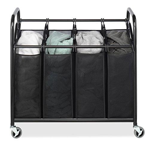 New! Whitmor 4-Bag Laundry Sorter Storage Basket Bin Organizer Washing Bag, Free by Whitmor