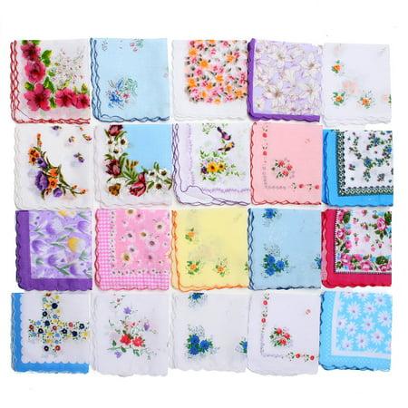20Pcs/Set Vintage Ladies Women Pocket Floral Flowers Handkerchief Cotton Quadrate Hanky Hankies Christmas (Branches Handkerchief)